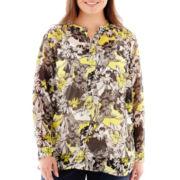 Liz Claiborne® Long-Sleeve Floral Blouse - Plus