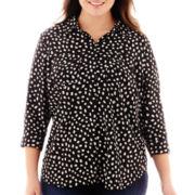 Liz Claiborne® 3/4-Sleeve Dot Blouse - Plus