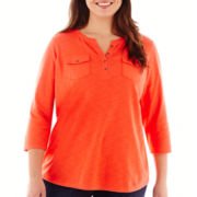 Liz Claiborne® 3/4-Sleeve Henley Top - Plus
