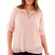 Liz Claiborne® 3/4-Sleeve Clipdot Peasant Blouse with Cami - Plus