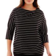 Liz Claiborne® 3/4-Sleeve Striped Cowlneck Top - Plus
