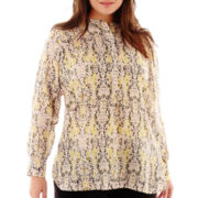 Liz Claiborne® Long-Sleeve Print Tunic Top - Plus