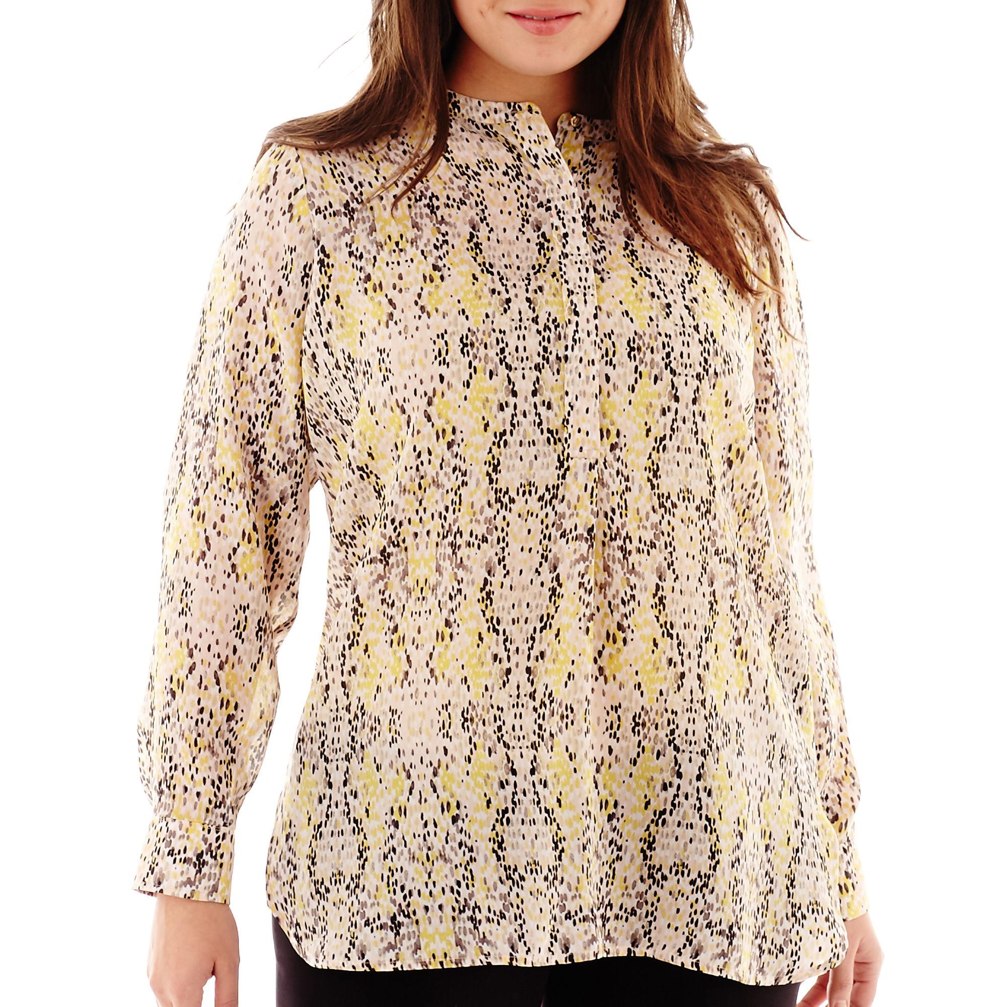Liz Claiborne Long-Sleeve Print Tunic Top - Plus