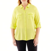 a.n.a® 3/4-Sleeve Roll-Tab 2-Pocket Rayon Shirt - Plus