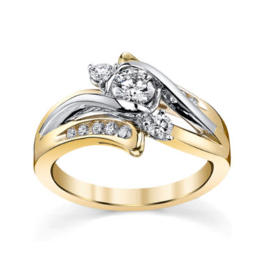 jcpenney.com | Sirena® 5/8 CT. T.W. Diamond 14K Two-Tone Gold 3-Stone Bypass Bridal Ring