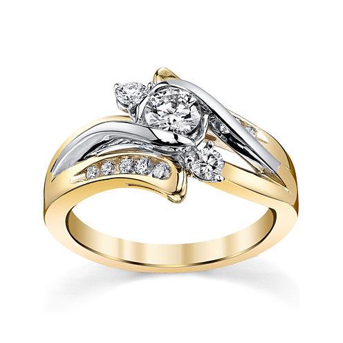 Sirena® 5/8 CT. T.W. Diamond 14K Two-Tone Gold 3-Stone Bypass Bridal Ring