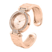 Womens Crystal-Accent Rose Gold-Tone Cuff Bangle Watch