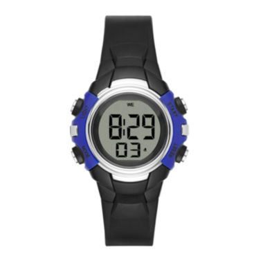 jcpenney.com | Womens Blue Case Black Plastic Strap Digital Watch