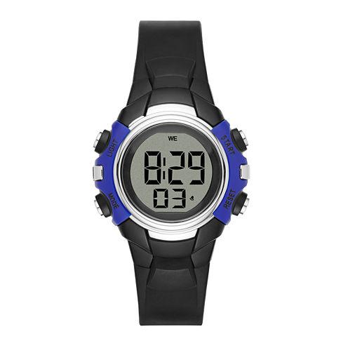 Womens Blue Case Black Plastic Strap Digital Watch