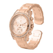 Womens Crystal-Accent Rose Gold-Tone Boyfriend Cuff Bangle Watch