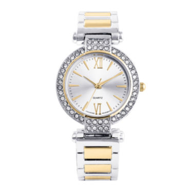jcpenney.com | Womens Crystal-Accent Two-Tone Cuff Bangle Watch
