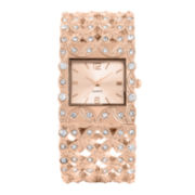 Womens Crystal-Accent Rose Gold-Tone Filigree Cuff Bangle Watch