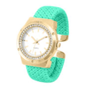 Womens Crystal-Accent Mint Faux Leather Cuff Bangle Watch