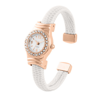 jcpenney.com | Womens Crystal-Accent Rose Gold-Tone White Lizard Faux Leather Cuff Bangle Watch