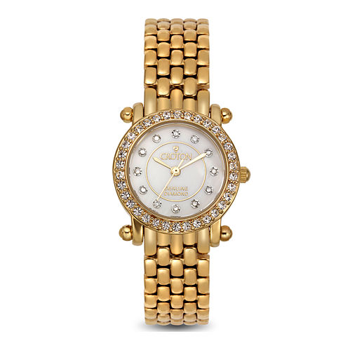 Croton Womens Diamond-Accent Gold-Tone Stainless Steel Bracelet Strap Watch