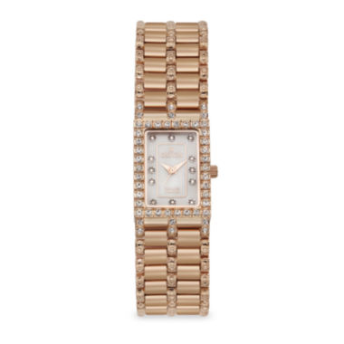 jcpenney.com | Croton Womens Diamond-Accent Square Rose Gold-tone Bracelet Watch