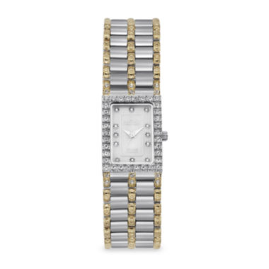 jcpenney.com | Croton Womens Diamond-Accent Square Two-Tone Stainless Steel Bracelet Watch