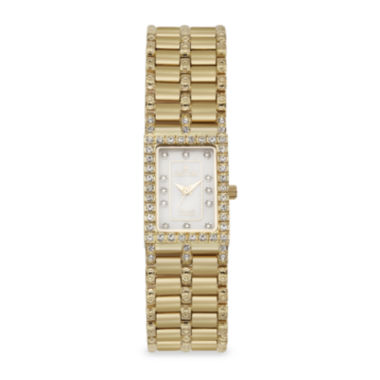 jcpenney.com | Croton Womens Diamond-Accent Gold-Tone Stainless Steel Rectangular Bracelet Watch