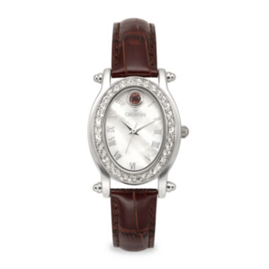 jcpenney.com | Croton Womens January Birthstone Crystal-Accent Red Leather Strap Watch