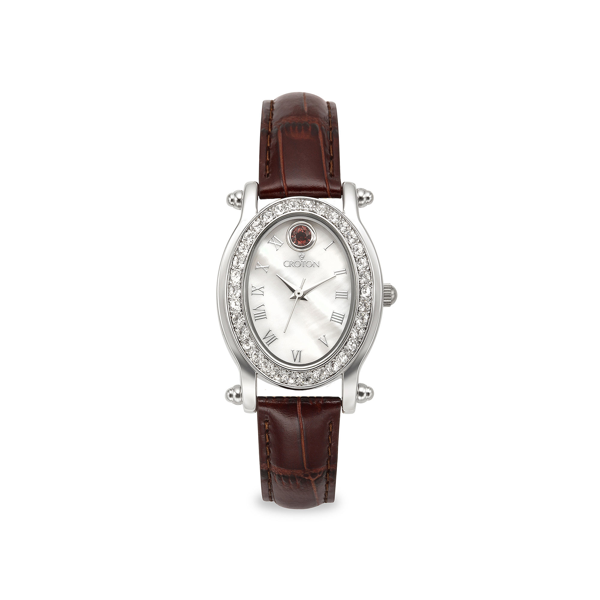 Croton Womens January Birthstone Crystal-Accent Red Leather Strap Watch