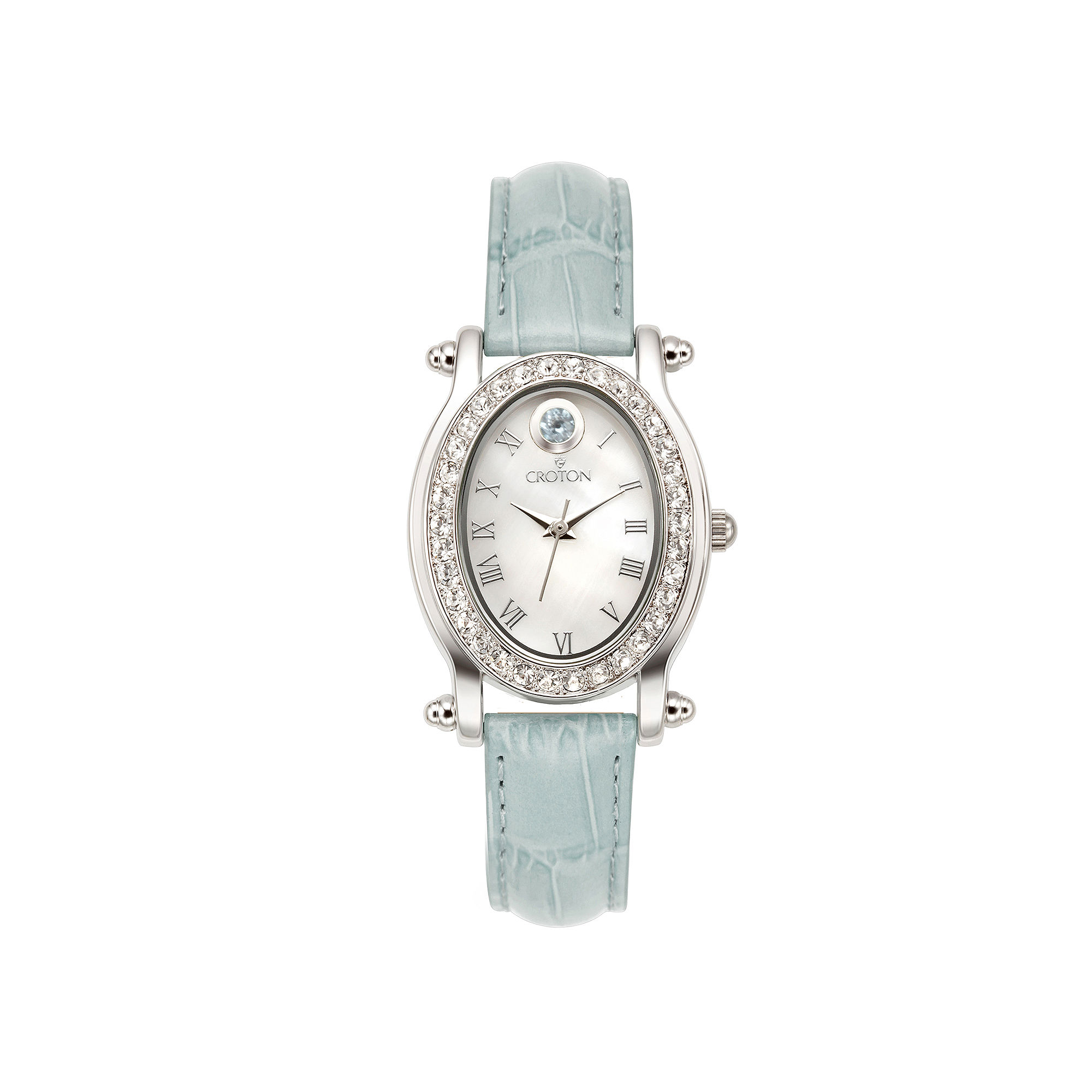 Croton Womens March Birthstone Crystal-Accent Light Blue Leather Strap Watch