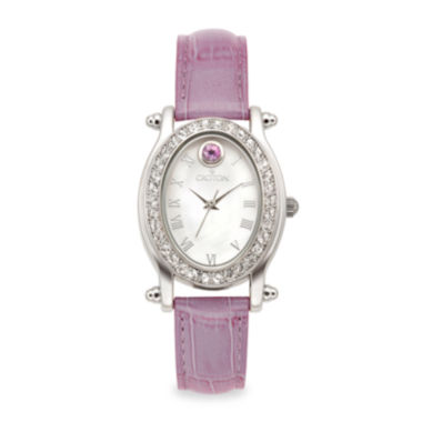 jcpenney.com | Croton Womens June Birthstone Crystal-Accent Purple Leather Strap Watch