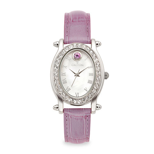 Croton Womens June Birthstone Crystal-Accent Purple Leather Strap Watch