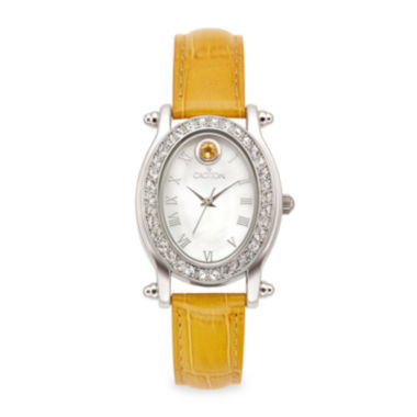 jcpenney.com | Croton Womens November Birthstone Crystal-Accent Yellow Leather Strap Watch
