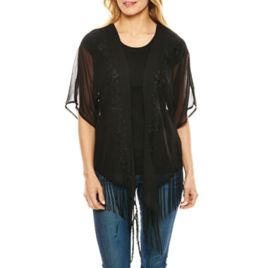 jcpenney.com | Big Buddha Embroidered Fringe Wrap