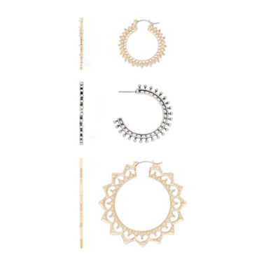 jcpenney.com | Decree® 3-pc. Gold-Tone Hoop Earrings Set