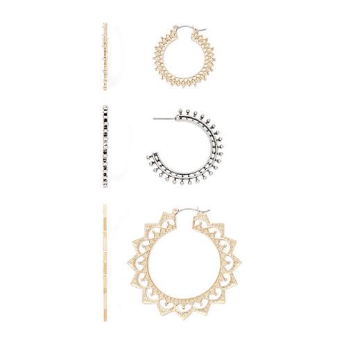 Decree® 3-pc. Gold-Tone Hoop Earrings Set