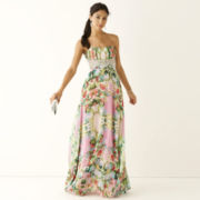 City Triangles® Strapless Embellished Waist Floral Print Prom Long Slim Dress- Juniors