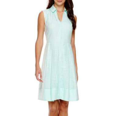 jcpenney.com | Signature by Sangria Sleeveless Gingham A-Line Shirtdress