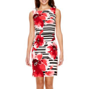 Alyx® Sleeveless Striped Floral Sheath Dress
