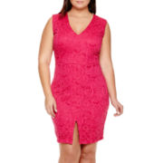 Bisou Bisou® Sleeveless V-Neck Lace Sheath Dress - Plus