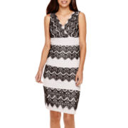 Signature by Sangria Sleeveless Lace Colorblock Sheath Dress - Petite