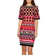 Studio 1® 3/4-Sleeve Geo Print Sheath Dress - Petite
