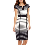Studio 1® Short Sleeve Colorblock Stripe Sheath - Petite