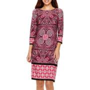 London Style Collection Long-Sleeve Print Sheath Dress - Petite