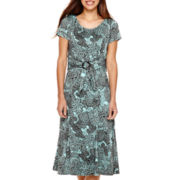 Perceptions Short-Sleeve Buckle Paisley Fit-and-Flare Dress - Petite