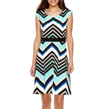 jcpenney.com | Studio 1® Sleeveless Chevron Fit-and-Flare Dress - Petite