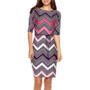 R&K Originals® 3/4-Sleeve Belted Sheath Dress - Petite