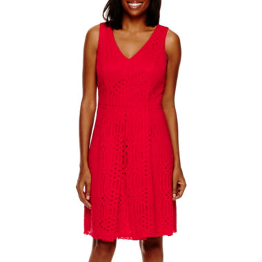 jcpenney.com | Liz Claiborne® Sleeveless Lace V-Neck A-Line Dress