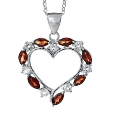 jcpenney.com | Sterling Silver Genuine Garnet Heart Pendant Necklace