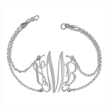 jcpenney.com | Sterling Silver Personalized Monogram Double Chain Bracelet