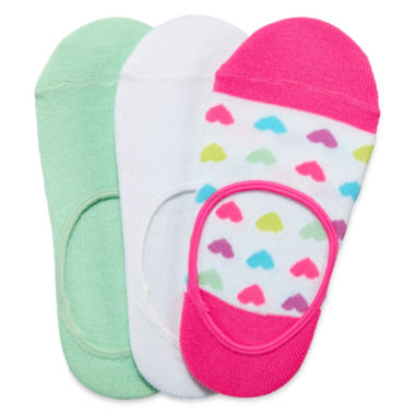 jcpenney.com | Total Girl® 3-pk. Heart Foot Liners - Girls