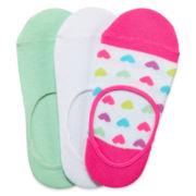 Total Girl® 3-pk. Heart Foot Liners - Girls