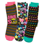 Pink Cookie 3-pk. Emoji Knee-High Socks - Girls 6-11