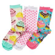 Pink Cookie 3-pk. Sweet Knee-High Socks - Girls 6-11