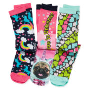 Pink Cookie 3-pk. Unicorn Knee-High Socks - Girls 6-11